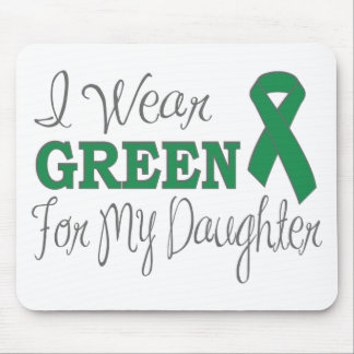 I Wear Green For My Daughter Green Ribbon Mousepads