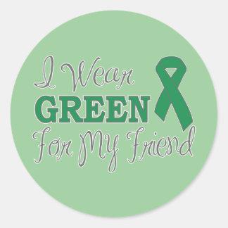 I Wear Green For My Friend (Green Ribbon) Classic Round Sticker