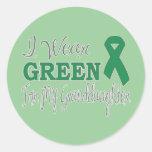 I Wear Green For My Granddaughter (Green Ribbon) Sticker