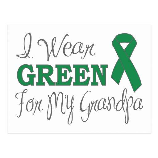 I Wear Green For My Grandpa (Green Ribbon) Postcard