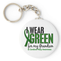 I Wear Green For My Grandson 10 Cerebral Palsy Keychain
