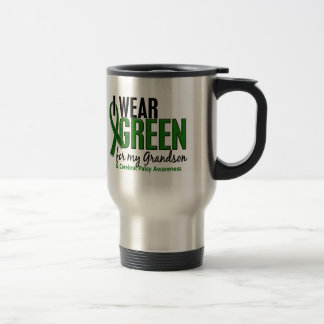 I Wear Green For My Grandson 10 Cerebral Palsy 15 Oz Stainless Steel Travel Mug