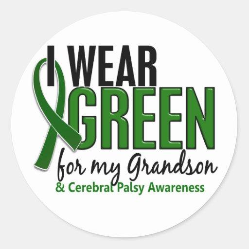I Wear Green For My Grandson 10 Cerebral Palsy Round Sticker