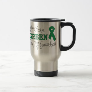 I Wear Green For My Grandson (Green Ribbon) 15 Oz Stainless Steel Travel Mug