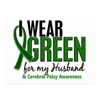I Wear Green For My Husband 10 Cerebral Palsy Postcard