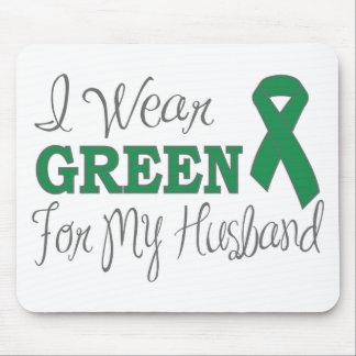 I Wear Green For My Husband Green Ribbon Mousepad