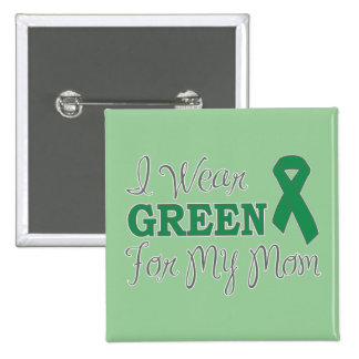 I Wear Green For My Mom (Green Awareness Ribbon) 2 Inch Square Button
