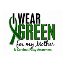 I Wear Green For My Mother 10 Cerebral Palsy Postcard