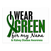 I Wear Green For My Nana 10 Kidney Disease Postcard