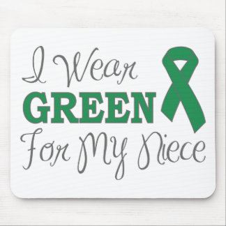 I Wear Green For My Niece Green Awareness Ribbon Mouse Pads