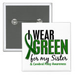 I Wear Green For My Sister 10 Cerebral Palsy 2 Inch Square Button