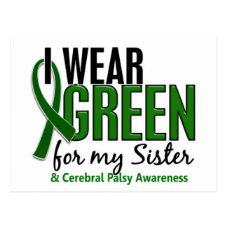 I Wear Green For My Sister 10 Cerebral Palsy Postcard