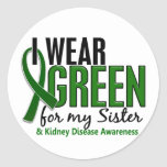 I Wear Green For My Sister 10 Kidney Disease Round Stickers