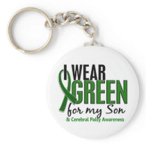 I Wear Green For My Son 10 Cerebral Palsy Keychain