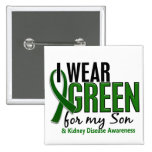 I Wear Green For My Son 10 Kidney Disease 2 Inch Square Button