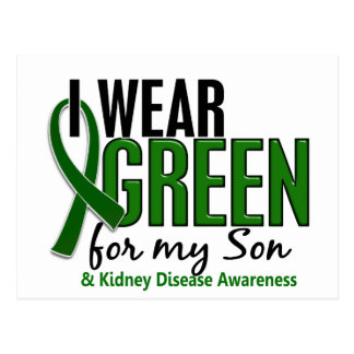 I Wear Green For My Son 10 Kidney Disease Postcard