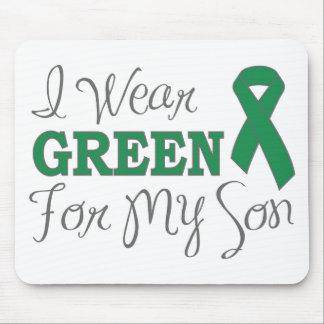 I Wear Green For My Son Green Awareness Ribbon Mousepad