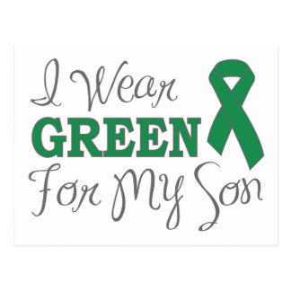 I Wear Green For My Son (Green Awareness Ribbon) Postcard