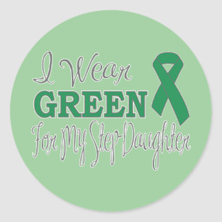 I Wear Green For My Step-Daughter (Green Ribbon) Classic Round Sticker