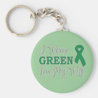 I Wear Green For My Wife Green Awareness Ribbon Keychains