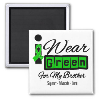 I Wear Green Ribbon (Retro) - Brother 2 Inch Square Magnet