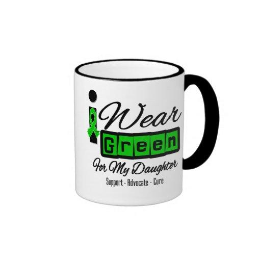 I Wear Green Ribbon (Retro) - Daughter Ringer Coffee Mug