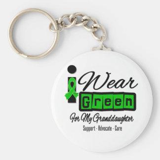 I Wear Green Ribbon (Retro) - Granddaughter Basic Round Button Keychain