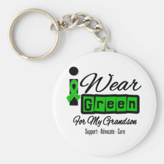 I Wear Green Ribbon (Retro) - Grandson Basic Round Button Keychain