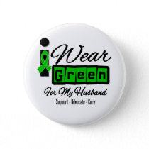 I Wear Green Ribbon (Retro) - Husband Button