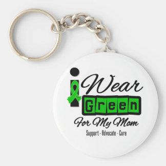 I Wear Green Ribbon (Retro) - Mom Basic Round Button Keychain