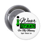 I Wear Green Ribbon (Retro) - Mommy Pinback Buttons