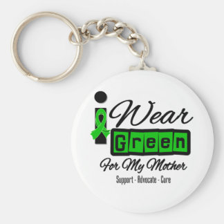 I Wear Green Ribbon (Retro) - Mother Basic Round Button Keychain