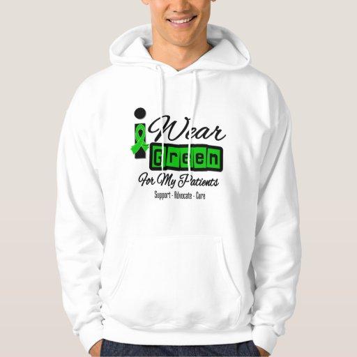 I Wear Green Ribbon (Retro) - Patients Hooded Sweatshirt
