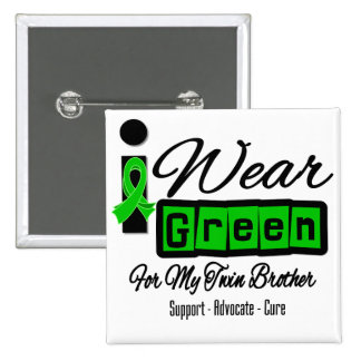 I Wear Green Ribbon Retro - Twin Brother Pinback Buttons