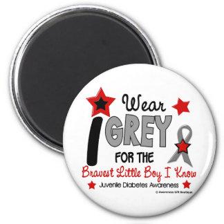 I Wear Grey 12 Bravest Little Boy Juv Diabetes 2 Inch Round Magnet
