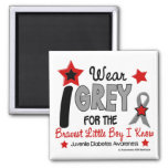 I Wear Grey 12 Bravest Little Boy Juv Diabetes 2 Inch Square Magnet