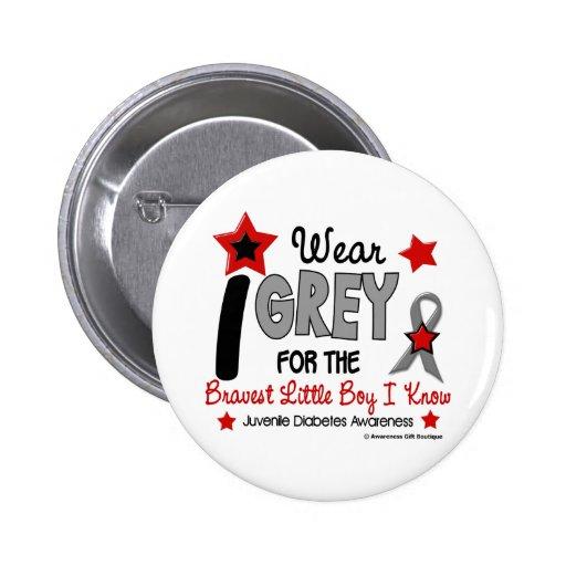 I Wear Grey 12 Bravest Little Boy Juv Diabetes Pinback Buttons