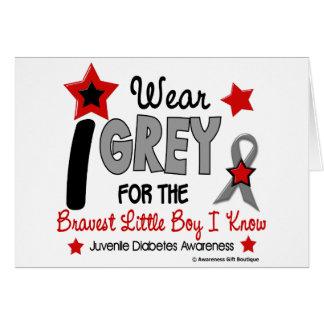 I Wear Grey 12 Bravest Little Boy Juv Diabetes Greeting Card