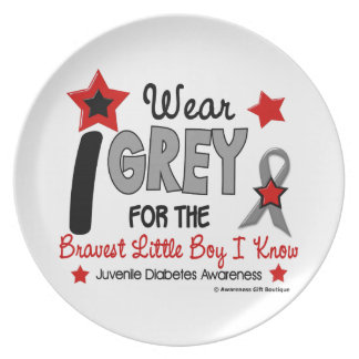 I Wear Grey 12 Bravest Little Boy Juv Diabetes Dinner Plate