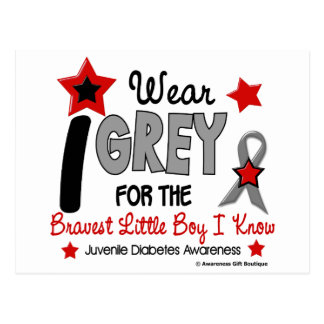 I Wear Grey 12 Bravest Little Boy Juv Diabetes Postcard