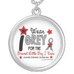I Wear Grey 12 Bravest Little Boy Juv Diabetes Round Pendant Necklace