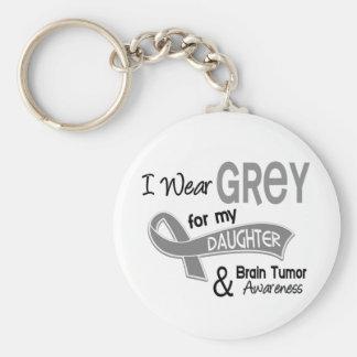 I Wear Grey 42 Daughter Brain Tumor Basic Round Button Keychain
