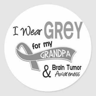 I Wear Grey 42 Grandpa Brain Tumor Classic Round Sticker