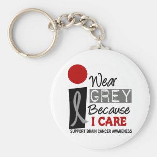 I Wear Grey Because I Care 9 BRAIN CANCER Key Chains
