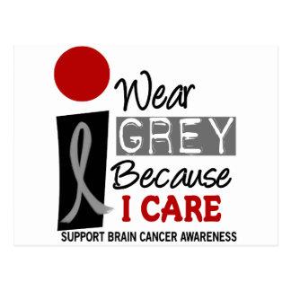 I Wear Grey Because I Care 9 BRAIN CANCER Postcard
