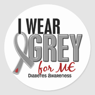 I Wear Grey For ME 10 Diabetes Classic Round Sticker