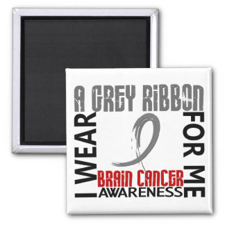 I Wear Grey For Me 46 Brain Cancer 2 Inch Square Magnet