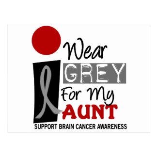 I Wear Grey For My Aunt 9 BRAIN CANCER T-Shirts Postcard