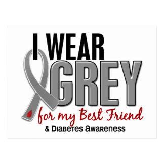 I Wear Grey For My Best Friend 10 Diabetes Postcard