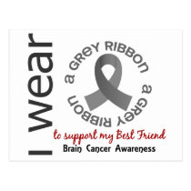 I Wear Grey For My Best Friend 17 Brain Cancer Postcard